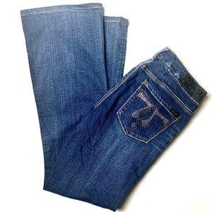 Seven7 Dark Wash EUC Rhinestone Pocket Jeans